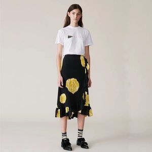 ganni yellow rose midi skirt silk size 36